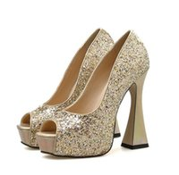 glitter sequined gold silver wedding shoes luxury women designer shoes bridal shoes size 35 to 41 tradingbear