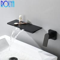 Rubinetto per lavabo a parete rolya rubinetto opaco nero in ottone bagno cascata bagno lavabo lavabo freddo acqua calda rubinetto spazzolato dorato