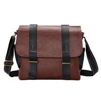 Solide Herren Laptoptasche PU-Leder-Kurier-Beutel für Männer Reise Vintage Zipper Umhängetaschen Geschäfts Abdeckung Handtaschen Männlich
