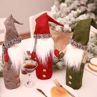 Santa Claus Vino de la Navidad Botella cubierta muñecas sin rostro Champagne mangas de Navidad decoración de interiores 3 colores 8 7zc E1