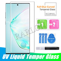 UV Plein Glue Case Verre Verre trempé Samsung S21 Ultra Note 20 8 9 S20 Plus S10 S9 S7 S7DEDED HUAWEI MATE 40 PRO