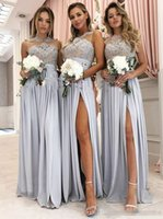 Vintage Lace Appliqued Silver Bridesmaid Dresses A- Line Spli...