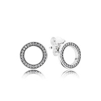 Authentische 925 Sterling Silber Kreis Ohrstecker mit Original Box für Pandora CZ Diamond Damenmode Ohrringe
