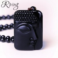 Roing Natural Obsidian Buddha Head Amulet Pendant Necklace F...