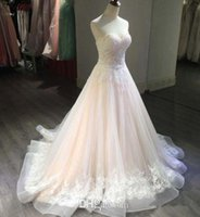 Blush Pink Wedding Dresses A Line Sweetheart Strapless Sleev...