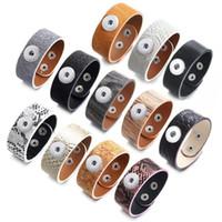 18mm Noosa Snap Düğmesi Bilezikler Takılar Kadınlar Için Moda Trendy Erkek DIY PU Deri Bileklik Bileklik Zincir Hediye 12 Renkler