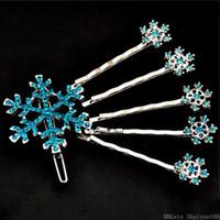 Clips de copo de nieve de la horquilla de pelo cristalinos de la flor del Rhinestone Pin Accesorios para el cabello de Halloween para la joyería de las mujeres de chicas niños y regalo 6pcs / set