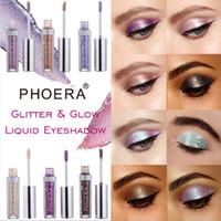 New PHOERA 12 Shades liquide fard à paupières pailleté Shimmer Maquillage Ombre à paupières liquide fard à paupières métallique Livraison gratuite Pearly étanche