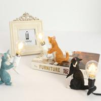 Современный скандинавский дизайн Cat LED смолы настольная лампа для спальни детей детская гостиная личный офис кафе детская комната арт деко