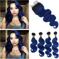 Virgen del cabello humano peruano # 1B / Blue Ombre Body Wave 4Bundles Dark Roots con cierre Ombre Dark Blue Encaje de encaje ondulado 4x4 con tejidos