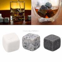 6pcs Set Naturel Whisky Stones Bar Whiskeys Rocks Rocks Alcool Cubes Pierre Vin Pierre Glace Cube avec sac de rangement Poche DBC BH3527