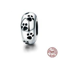 100% authentique 925 en argent sterling Charms chien empreinte animale perles en vrac Fit Pandora Bracelet bricolage Bijoux 2019 YMSCC594