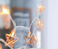 Novità Luci da fiaccola a LED 20 Metallo Star Light Light Alimentato a batteria / USB / spina europea Christmas Holiday Garland Light per la decorazione del partito di nozze