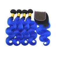 El cierre de extensiones de cabello mechones de cabello H H A T / azul humano con el pelo Cierre de la onda del cuerpo humano de la Virgen brasileña Con 4x4 10 -18 pulgadas