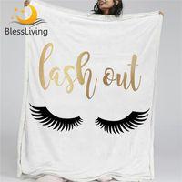 BlessLiving de pestañas Manta Oro Negro Sherpa franela Fleece Manta reversible linda cama de ojos Sofá elegante del regalo de Navidad de cama