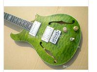 : Guitarra eléctrica guitarra instrumento musical, verde estalló la parte superior, F agujero, de alta calidad