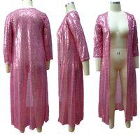 Plus Size Paillettes Cardigan Designer Vêtements d'extérieur en vrac manches demi clair couleur Mesdames Cap Femme Vêtements