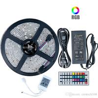 5050 RGB светодиодные светильники DC 12V 5M 10M IP20 IP65 Водонепроницаемая светодиодная лампа для гостиной + источник питания + ИК-пульт дистанционного управления