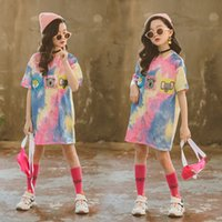 T-shirt Style Fashion Animal Cartoon Polychromatic Stampa Baby Girl Princess Dress taglia 4 6 8 10 12 14 anno