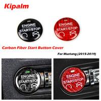 Kipalm لفورد موستانج من ألياف الكربون ملصق سيارة محرك ابدأ إيقاف زر الديكور غطاء السيارة التصميم ل2015-2019 اكسسوارات