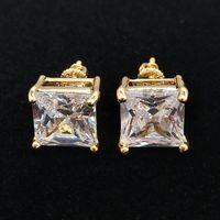 Mode 18k Gold HiPhop Ifed Out CZ Cubic Zircon Square Coucles d'oreilles 0,4 0,7 0,9 cm Cadeaux pour hommes Goujons de boucles d'oreilles en diamant à diamants Rapper bijoux
