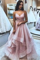 Glitz rosa lantejoulas Tulle Ruffles Prom Vestidos longos 2020 spahgetti Strap A Formal Festa Linha Evening Vestidos Pageant Vestido BC2564