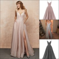 Glittery Side Slit Evening Dress Sexy Deep V- neck Spaghetti ...
