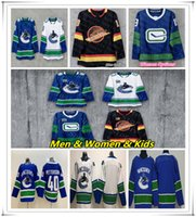 Barato 2019 Vancouver Canucks Elias Pettersson Bo Horvat Brock Boeser Antoine Roussel Alexander Edler Jake Virtanen Hockey Jersey 50a parche