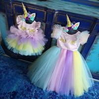 Fleurs de Chanceux Colorés Robes De Filles Arc-En-Tulle Volants Avec Arc Tout-Petits Pageant Robes Communion Robe De Fête Pour Le Mariage