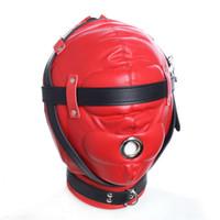 Adulto suprimentos capuz de olhos vendados boca ajustável máscaras de couro grosso preto vermelho com capuz jogos adereços de sexo sedativo