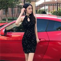 Lässige Kleider echt S 2021 Mode Temperament Gold Samt modifiziert Cheongsam Glänzend Sexy Side Slit Slim Kleid