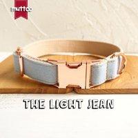 MUTTCO vente au détail collier de chien d'auto-conception de la lumière JEAN main col wathet bleu et blanc 5 tailles collier de chien UDC034M