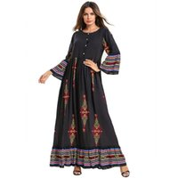 Preto Abaya marroquina Turquia Bangladesh Plus Size islâmica Vestuário Kaftan árabe Dubai Abayas Para Mulheres Imprimir Maxi vestido muçulmano