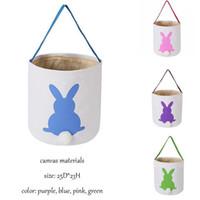 Cesti coniglio Easter Basket Easter Bunny Borse Coniglio Printed Canvas Tote Bag Egg Caramelle borsa canestro 4 colori di Pasqua per i bambini bag