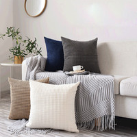 INS No Filler Decorative Pillow Fashion Solid Color Sofa Pil...