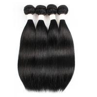 حزم البرازيلي مستقيم الشعر الإنسان حزم اللون # 1 جيت الأسود الهندي بيرو الشعر 3 أو 4 حزم 10-22 بوصة ريمي شعر إنساني إمتداد