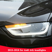 Car Styling for Audi A4 Headlights 2013-2016 High Configuration A4 B9 LED DRL Lens Double Beam H7 HID Xenon bi xenon lens