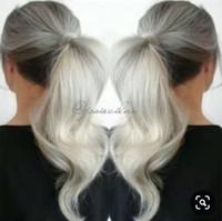 Argent Grey Humain Cheveux Humains Pony Poirice Poitrine Envelopper autour de teindre Naturel Hightlight Blonde Blanc Blanc Cheveux Hair Ponye Livraison Gratuite