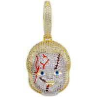 фильм хип-хоп детская игра ожерелья для мужчин, женщин, роскошные бриллианты, подвески из мультфильма, 18-каратное позолоченное медное ожерелье из цирконов, аниме