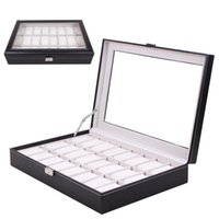 New 24 Grids Transparent Glass Black PU Leather Watch Box Je...