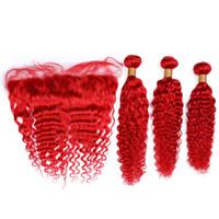 Malasio de la Virgen Tejidos Humanos de color rojo del pelo con el frontal 3Bundles brillante de color rojo oscuro de la onda de las tramas del pelo con el cordón de 13x4 frontal Cierre 4pcs