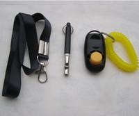 DHL 100 компл. 3 в 1 Ультразвуковой свисток для собак + Регулируемый кликер для дрессировки домашних животных + Бесплатный набор для шнурка
