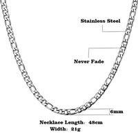 Gourmettes Homme Colliers Bijoux en or 18 carats de 6 mm de long chaîne Lien classique Homme 18-24inch Chaîne Figaro Collier pour homme YS34
