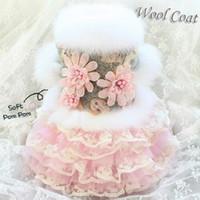El yapımı Köpek Giyim Elbise Elbise Pet Coat Etek El Yapımı Noble Gri Yün Çiçek Kedi Kış Fino köpeği Malta