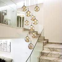 높은 빌라 entryway orb 유리 계단 나선형 긴 램프 매달려 현대 크리스탈 구슬 계단 집에 대 한 샹들리에
