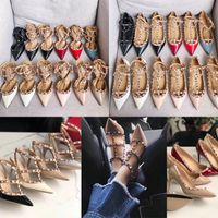 Mulheres pregos das sandálias dos saltos altos enjaulados tornozelo bomba alça 65MM 10MM qualidade batida 100% couro genuíno de fundo sapatos partido sexy Sexy Dress Shoes