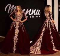 Sexy V-Ausschnitt Abendkleid A-Line SpitzeApplique Langarm-Sweep Zug Abendkleid 2020 Arabisch Dubia Kaftan Marokkanische Kleider BC2620