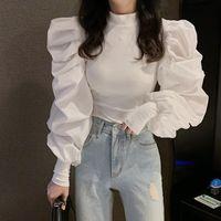 ربيع المرأة الجديدة يا الرقبة نمط الملكية الرجعية فانوس طويلة الأكمام مصححة موضوع محبوك قميص يتصدر أسود أبيض 2 الألوان