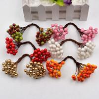 25 pcs 50 cabeças Flor Artificial Mini Baga Bacca Bouquet para Decoração de Casamento DIY Scrapbooking Flores Decorativas Coroa de Flores Falsas