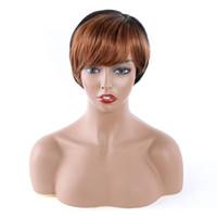 Moins cher Brésilien de Vierge 100 cheveux humains capless perruques 1B # 30 Couleur péruvienne droit non dentelle perruque de cheveux